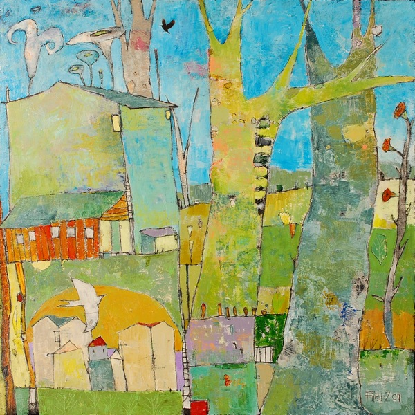 Jane Filer Remembering Kroller Muller acrylic on canvas 38 x 38 inches