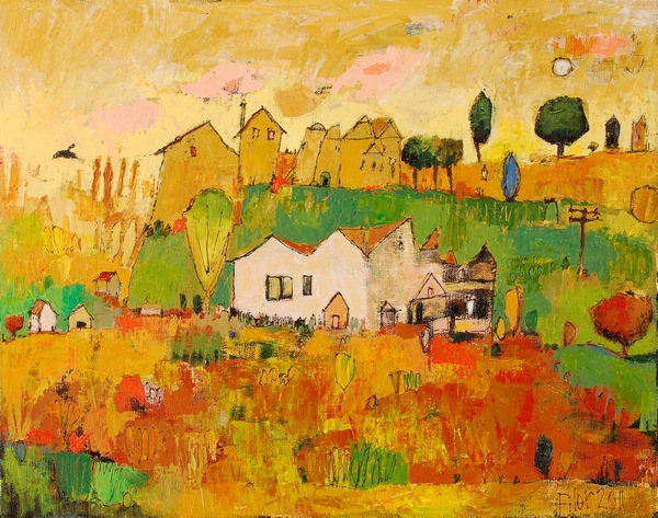 Jane Filer Hilltop acrylic on canvas 22 x18 inches