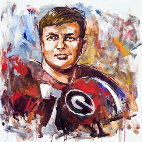 Steve Penley   Bill Stanfill, UGA 1966-68  College Football Hall of Fame, Inducted 1998  acrylic on canvas 30x30 inches