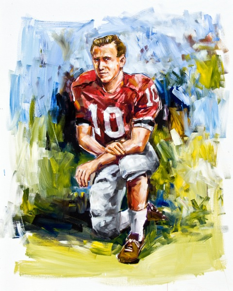 Steve Penley  Fran Tarkenton, UGA 1958-60  College Football Hall of Fame, Inducted 1987  acrylic on canvas 