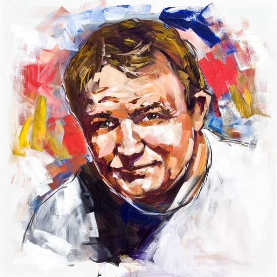 Steve Penley  Wally Butts, UGA Head Coach, 1939-60  College Football Hall of Fame, Inducted 1997  acrylic on canvas 30x30 inches