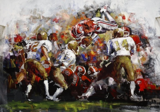 Steve Penley  Herschel Walker Over The Top  acrylic on canvas 44x60 inches (sold)    Limited Edition   22x30 inches, giclee print on paper 35x48 inches, giclee print on canvas