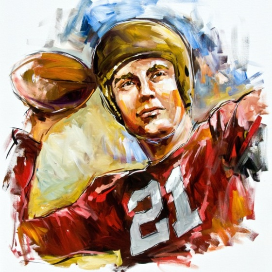 Steve Penley  Frank Sinkwich, UGA 1940-42 Heisman Trophy, 1942, College Football Hall of Fame, Inducted 1954  acrylic on canvas 60x48 inches