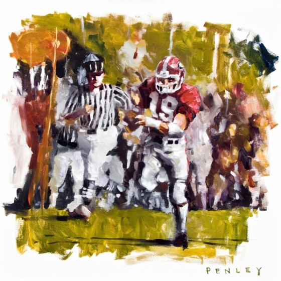 Steve Penley  Scott Woerner (#1) 1980–  Georgia vs. Clemson  acrylic on canvas 30x30 inches