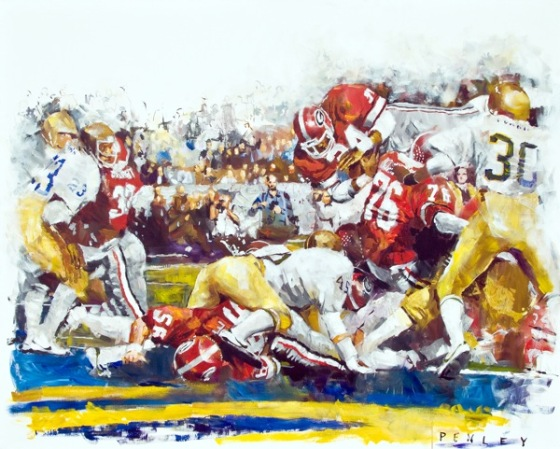 Steve Penley  Herschel Walker 1981-  Georgia vs. Notre Dame, Sugar Bowl  acrylic on canvas 48x60 inches (SOLD)