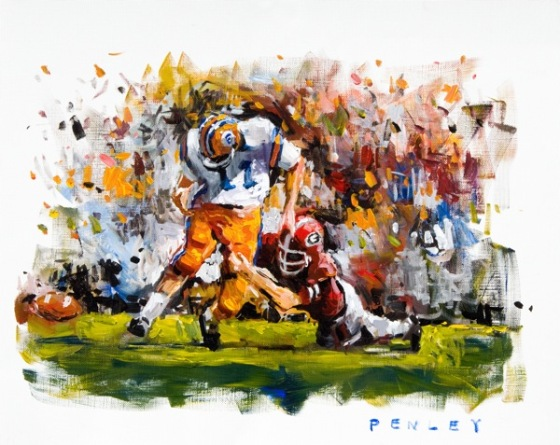 Steve Penley  Bill Stanfill Sacks Steve Spurrier (#2) 1966- Georgia vs. Florida  acrylic on paper 20x16 inches (SOLD)