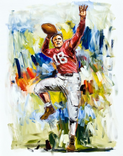 Steve Penley  John Rauch, UGA 1945-48  College Football Hall of Fame, Inducted 2003  acrylic on canvas 