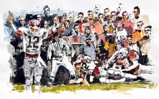 "Steve Penley  John Lastinger 1984- Georgia vs. Texas, Cotton Bowl  acrylic on paper   ""What time is it in Texas?  It's always 10 to 9!"""