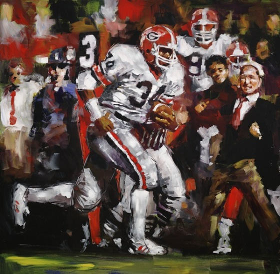 Steve Penley  Herschel Walker, UGA 1980-82 Heisman Trophy, 1982, College Football Hall of Fame, Inducted 1999  acrylic on canvas 48x48 inches    Limited Edition   24x24, giclee print on paper 42x42, giclee print on canvas