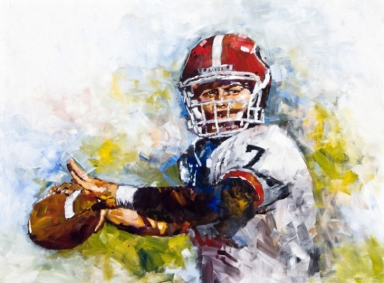 Steve Penley  Matthew Stanford to Mikey Handerson 2007- Georgia vs. Alabama  acrylic on canvas 36x48 inches