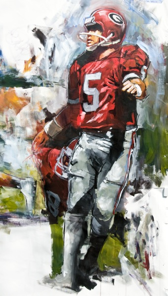 Steve Penley  Kevin Butler, UGA 1981-84  College Football Hall of Fame, Inducted 2001  acrylic on canvas detail
