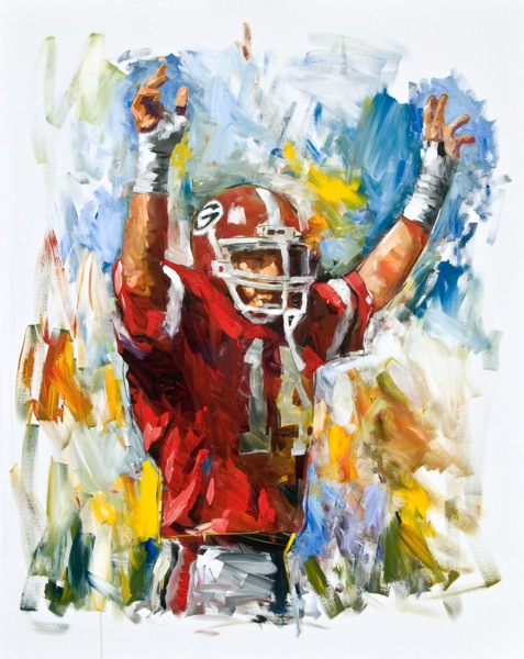 Steve Penley  Terry Hoage, UGA 1980-83  College Football Hall of Fame, Inducted 2000  acrylic on canvas 