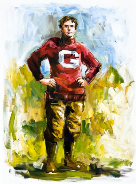 Steve Penley  Pop Warner, UGA Head Coach, 1895-96  College Football Hall of Fame, Inducted 1951  acrylic on canvas 48x36 inches