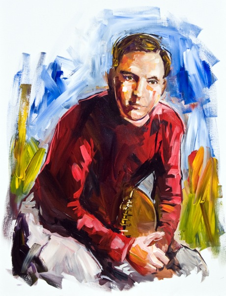 Steve Penley  Bob McWhorter, UGA 1910-13  College Football Hall of Fame, Inducted 1954  acrylic on canvas 40x30 inches