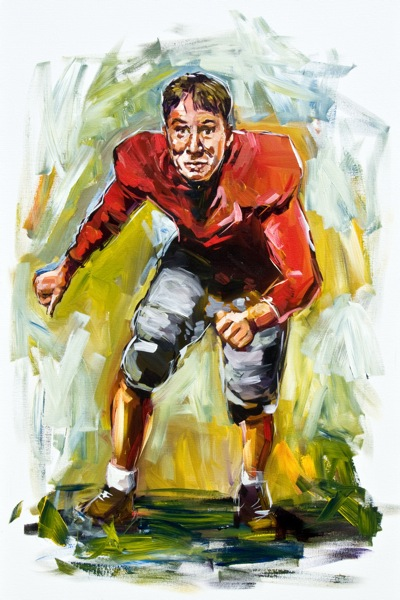"Steve Penley  Vernon ""Catfish"" Smith, UGA 1929-31  College Football Hall of Fame, Inducted 1979  acrylic on canvas 60x36 inches"