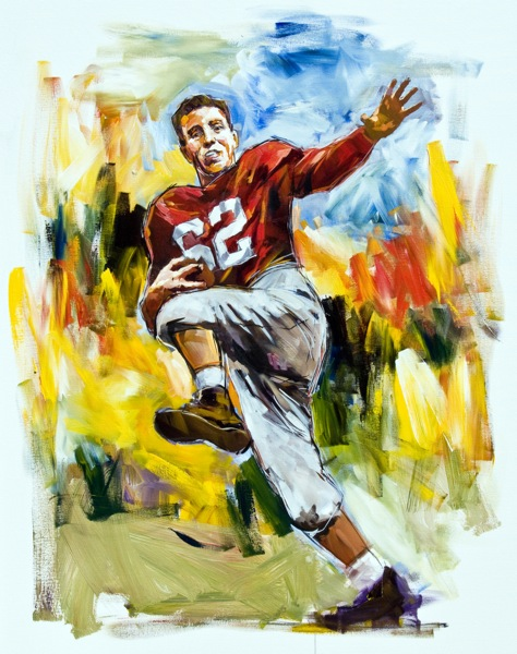 Steve Penley  Charlie Trippi, UGA 1942, 45-46  College Football Hall of Fame, Inducted 1959  acrylic on canvas 