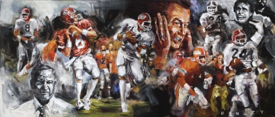 Steve Penley  Buck Belue to Lindsey Scott 1980- Georgia vs. Florida  acrylic on canvas 36x84 inches (sold)    Limited Edition   18x42 inches, giclee print on paper 30x70 inches, giclee print on canvas