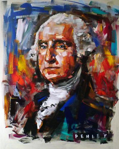 Steve Penley   George Washington   acrylic on canvas  48 x 60 inches