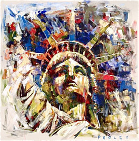 Steve Penley Liberty giclee print & acrylic on paper    16 x 16 inches unframed | edition of 125 24 x 24 inches unframed | edition of 50