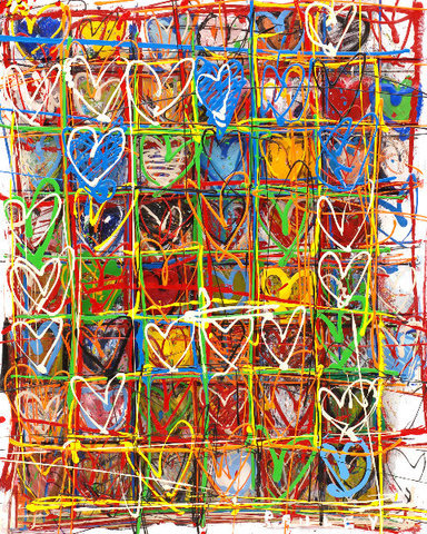 Steve Penley Hearts giclee print & acrylic on paper    16 x 20 inches unframed | edition of 125  22 x 28 inches unframed | edition of 50