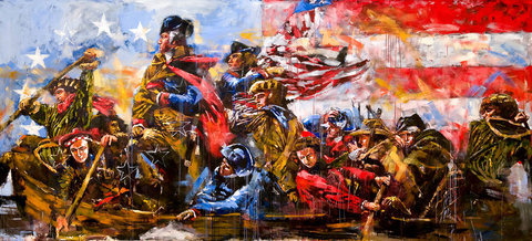 Steve Penley Washington Crossing The Delaware giclee print & acrylic on paper    20 x 43 inches unframed | edition of 125