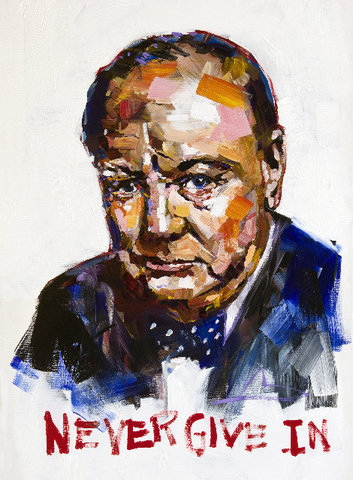 Steve Penley Churchill giclee print & acrylic on paper    22 x 30 inches unframed | edition of 125