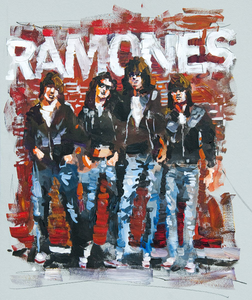 "Steve Penley   The Ramones  acrylic on archival mat board 20 x 25 inches 22 x 27 inches framed  4500.  framed    This painting was featured in Steve Penley's book ""The Reconstruction of America"""