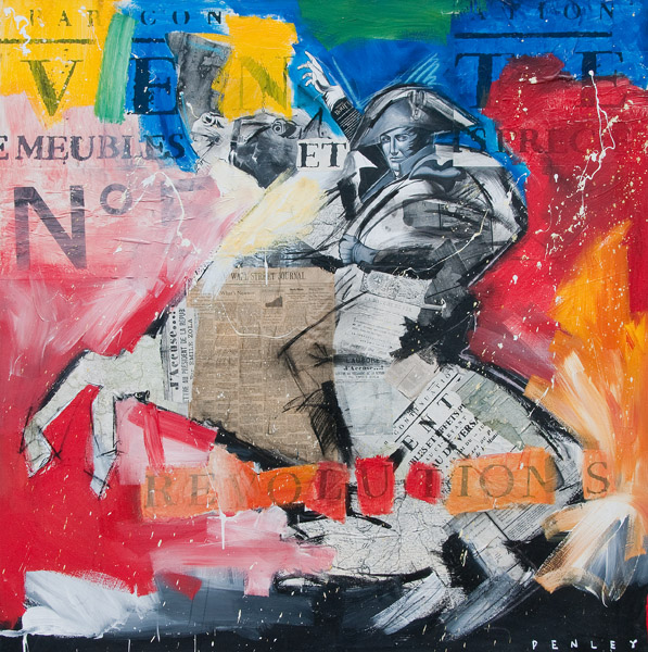 Steve Penley   Napoleon  acrylic & collage on canvas 66 x 66 inches   18000.