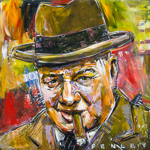 Steve Penley   Churchill  acrylic & collage on canvas 24 x 24 inches   5800.