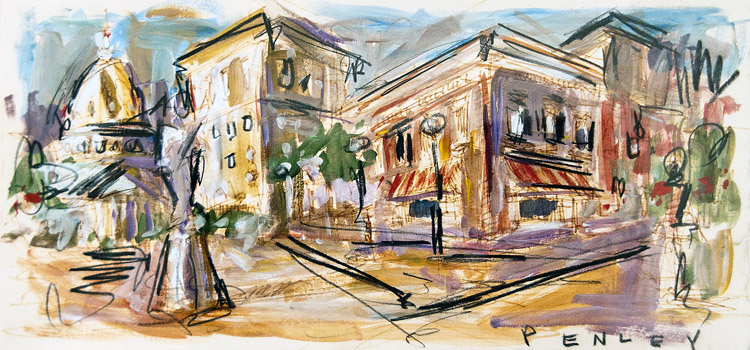 Steve Penley   Downtown  acrylic & pastels on paper 15 x 7 inches 20 x 13 inches framed   2000. framed