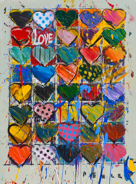Steve Penley   Hearts  acrylic on canvas 36 x 48 inches (SOLD)