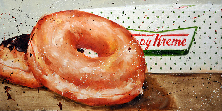 Scott French   Hot Doughnuts Now  oil on panel 15 x 30 inches
