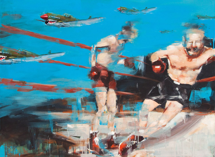 Dropping Bombs No 3<br>acrylic on canvas<br>48 x 36 inches