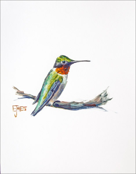 Ruby Throat Hummingbird<br>acrylic on paper<br>11 x 14 inches