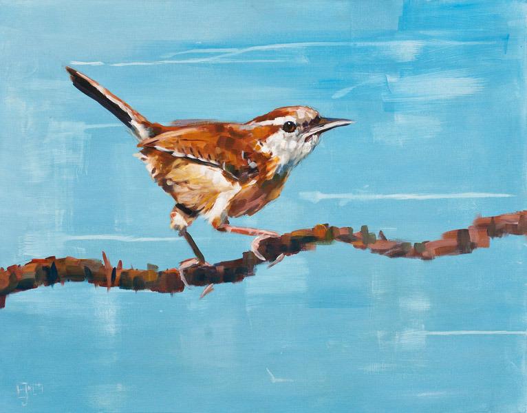 Evan Jones   Carolina Wren  acrylic on canvas 28 x 22 inches