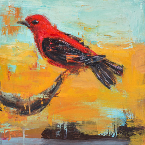 Evan Jones   Scarlet Tanager  acrylic on canvas 16 x 16 inches 19 x 19 inches framed