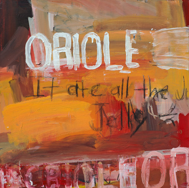 Oriole At The Jelly<br>acrylic on canvas<br>24 x 24 inches