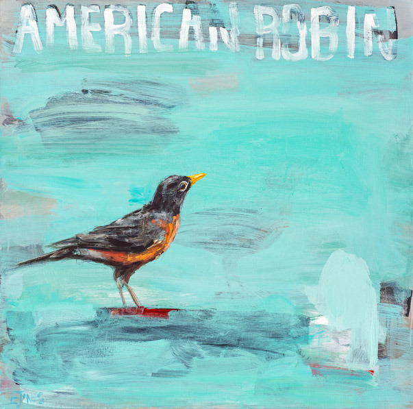 American Robin<br>acrylic on canvas<br>36 x 36 inches