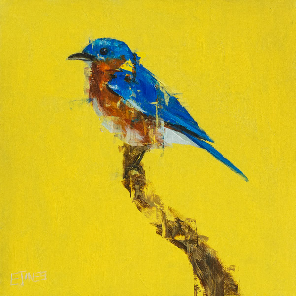 Evan Jones   Bluebird On Yellow  acrylic on canvas 20 x 20 inches