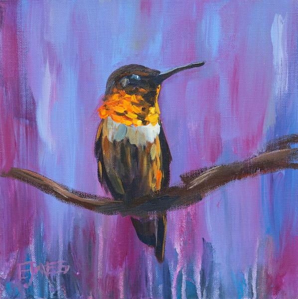 Hummingbird On Purple<br>acrylic on canvas<br>10 x 10 inches