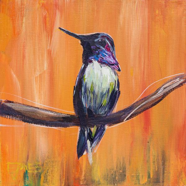 Hummingbird On Orange<br>acrylic on canvas<br>10 x 10 inches
