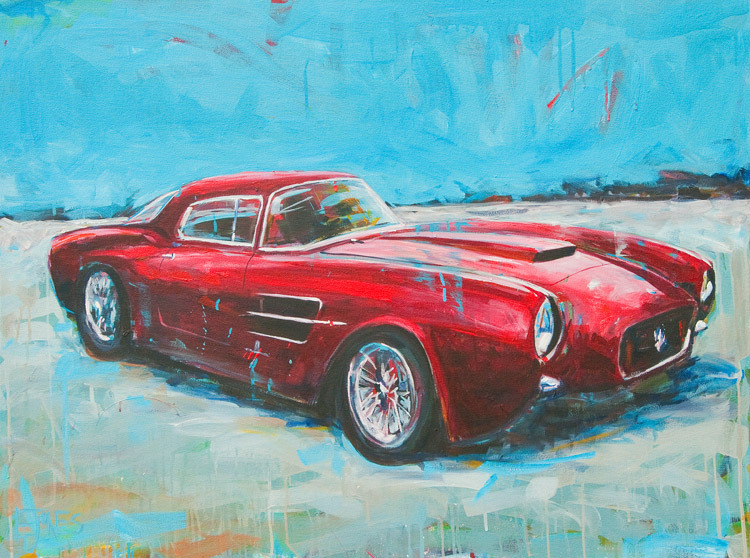 Evan Jones   1954 Maserati Berlinetta  acrylic on canvas 48 x 36 inches (SOLD)