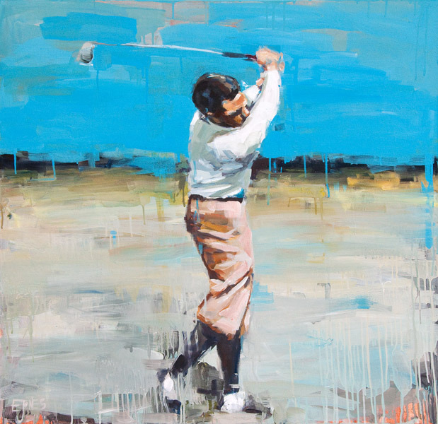 Evan Jones  Bobby Jones No 1 acrylic on canvas 40 x 40 inches  (SOLD)