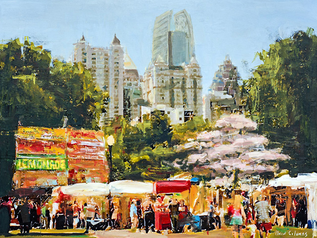 In 2015, Plaid Columns was invited be the  Official Artist of The Dogwood Festival . Their painting was included in event marketing and advertising, as well as commemorative prints and t-shirts. The unveiling was held at a party in their honor at  W Atlanta - Midtown , where many of their artworks were on exhibition for public viewing.