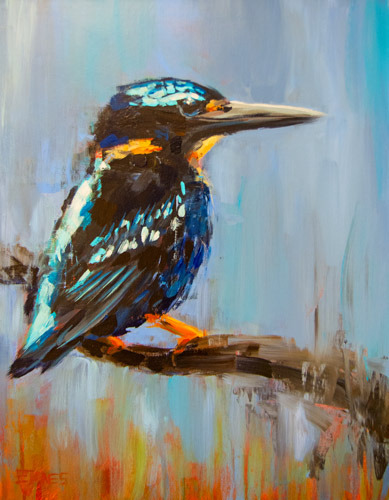 Silver Kingfisher<br>acrylic on canvas<br>14 x 18 inches
