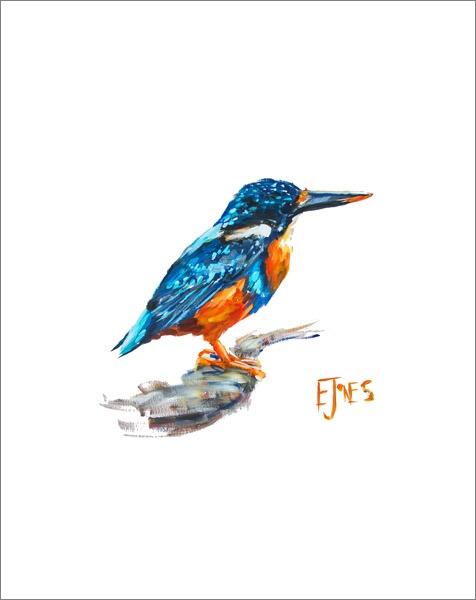 Indigo Kingfisher No. 5<br>acrylic on paper<br>20 x 24 inches