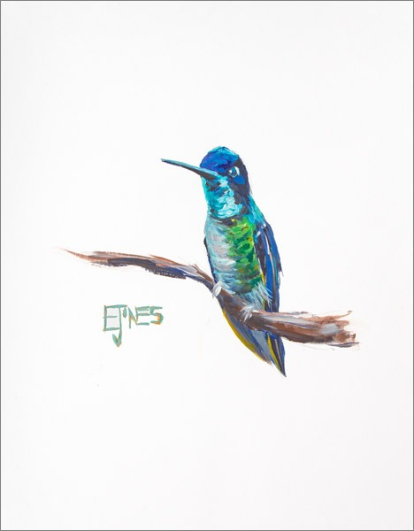 Fairy Wren<br>acrylic on paper<br>11 x 14 inches