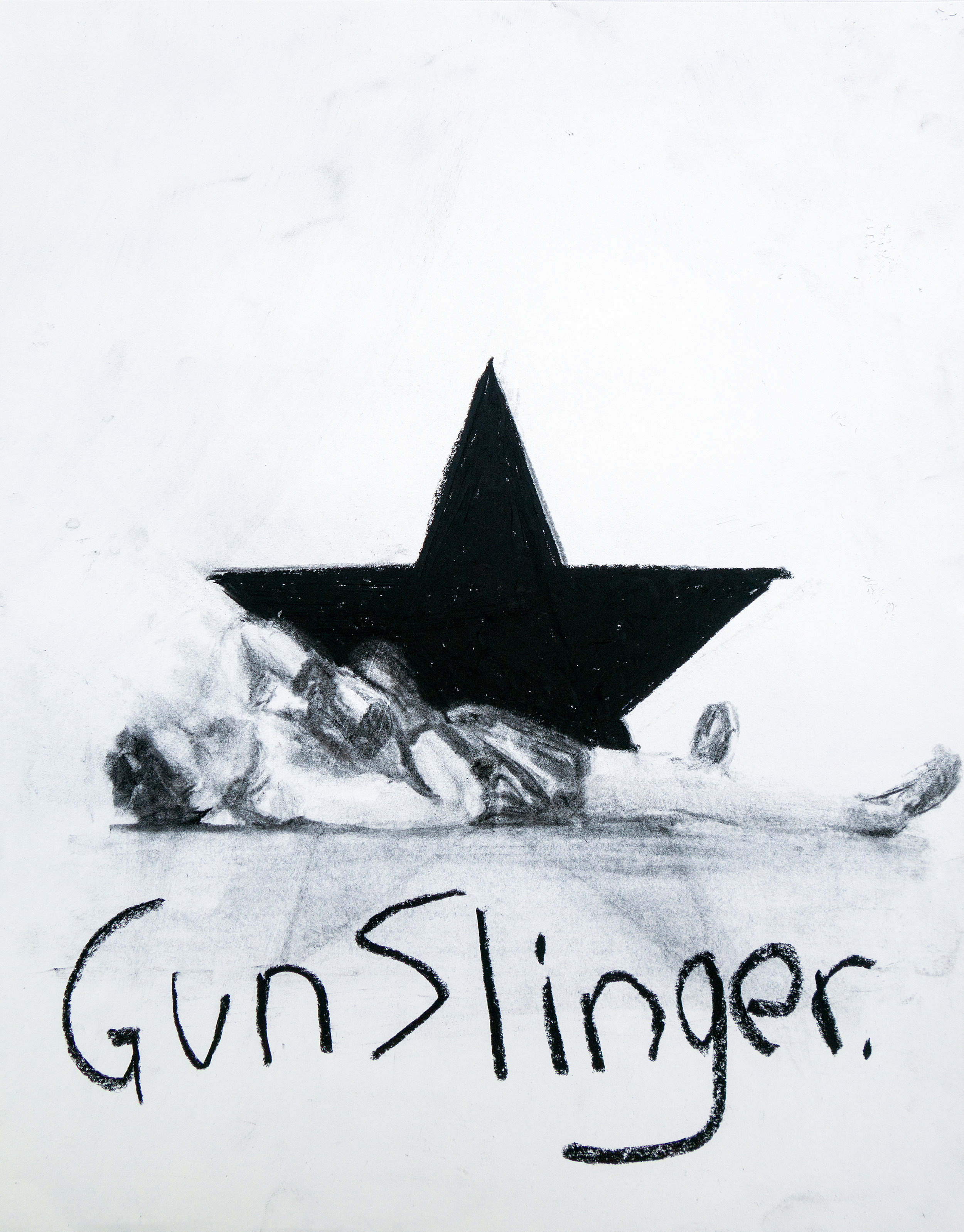 Gunslinger<br>charcoal on paper<br>11 x 14 inches