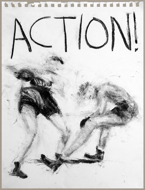 Action!<br>charcoal on paper<br>11 x 15 inches unframed<br>17 x 21 inches framed
