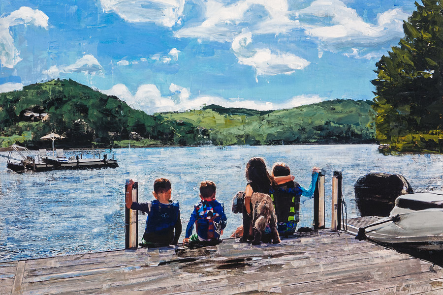 PLAID COLUMNS   Lake Linville No. 1 mixed media on panel 30 x 45 inches